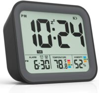 Small Simple Travel Alarm Clock with Indoor Thermometer & Digital Hygrometer