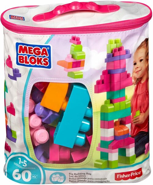 积木类型玩具 Mega Blocks Big Building Bag, Pink , 60 Piece