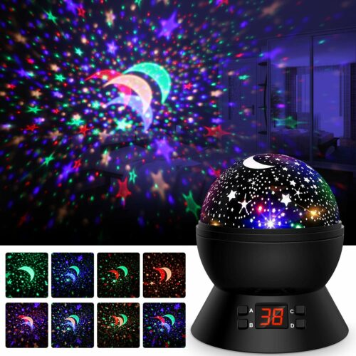 帮助孩子晚上入睡的玩具  Star Projector-Night Lights for Kids 360 Degree Rotating Star Moon Projection Lamp