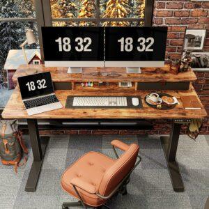 最佳升降电脑桌推荐 FEZIBO Height Adjustable Electric Standing Desk with Double Drawer