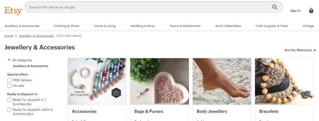 ETSY.com 美国最受欢迎的10个网上购物网站之一