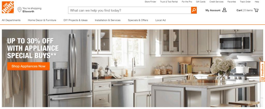 美国最受欢迎的10个网上购物网站之一 homedepot.com