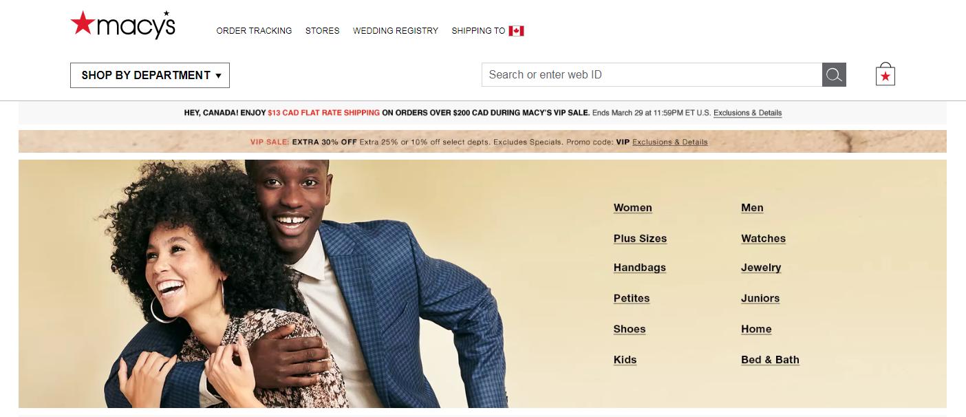 美国最受欢迎的10个网上购物网站之一 macys.com