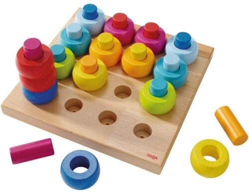 彩虹色木头玩具 HABA Rainbow Whirls Pegging Game