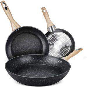 一套三款且价格实惠的不粘锅 Homgeek Frying Pans