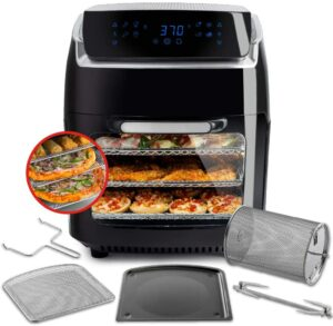 一款可多层烘烤的空气炸锅 Aria Air Fryers AAO-890 Oven Air Fryer, 10Qt, Premium Black