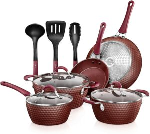 最佳铝制不粘炊具套装 NutriChef Nonstick Cookware Excilon Home Kitchen Ware Pots & Pan Set