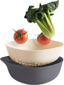 清洗蔬菜用的盆和过滤器 Kitchen Colander 2 in 1 Fruit and Vegetable Strainer Bowl Sets