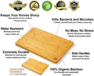 由竹子制作而成的一款切菜板 Organic Bamboo Cutting Board