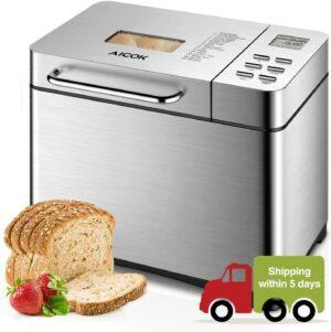 最适合初学者使用的面包机 Aicok Stainless Steel Bread Machine