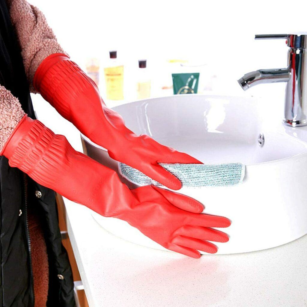 做家务清洁用的手套 Rubber Cleaning Gloves Kitchen Dishwashing Waterproof Reuseable