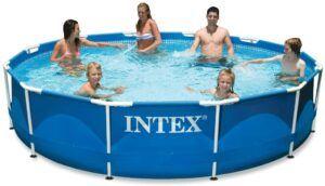 面积大而且坚固的金属框架泳池 Intex Metal Frame Pool with Filter Pump
