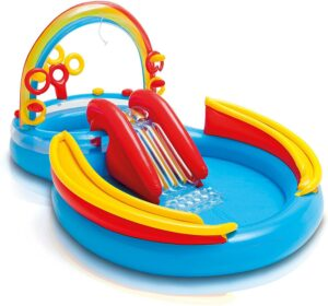 带滑梯的小充气游泳池 Intex Rainbow Ring Inflatable Play Center