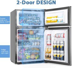 带冰柜的迷你小冰箱 Euhomy Mini Fridge with Freezer 3.2 Cu.Ft