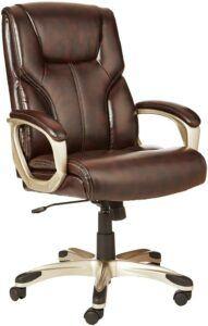 AmazonBasics High-Back Leather Executive Adjustable Office Desk Chair