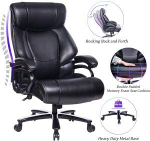 REFICCER High Back Big & Tall 400lb Leather Office Chair