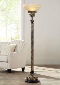 古董金色落地灯 Florencio Traditional Torchiere Antique Gold Floor Lamp