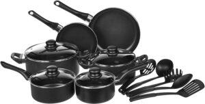 亚马逊上广受好评的不粘锅套装:AmazonBasics 15-Piece Non-Stick Kitchen Cookware Set
