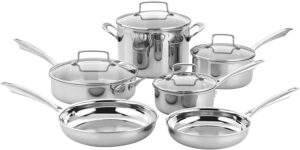 亚马逊上广受好评的不锈钢锅套装:Cuisinart TPS-10 10 Piece Tri-ply Stainless Steel Cookware Set, PC, Silver