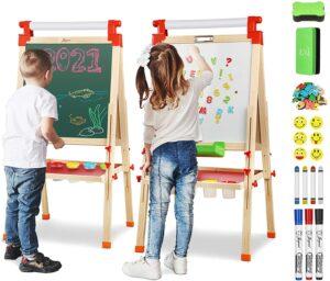 儿童绘画板 Joyooss Kids Wooden Easel with Extra Letters and Numbers Magnets