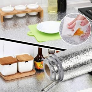 厨房防油贴纸 Kitchen Backsplash Wallpaper Peel and Stick Shelf Liner Oil Proof Sticker