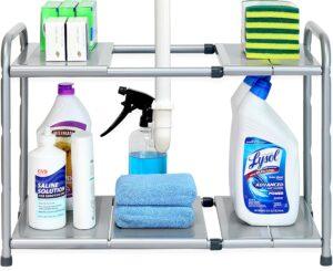 可以在厨房水槽下方放置的的可扩展的储物架:SimpleHouseware Under Sink Expandable Shelf Organizer Rack