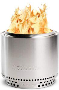带支架的小型不锈钢木材燃烧式无烟篝火 Solo Stove Bonfire with Stand Stainless Steel Wood Burning Smokeless Bonfire with Carrying Case, Large 19.5 inch