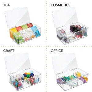 带透明顶盖的塑料储物架:mDesign Stackable Plastic Tea Bag Holder Storage Bin Box