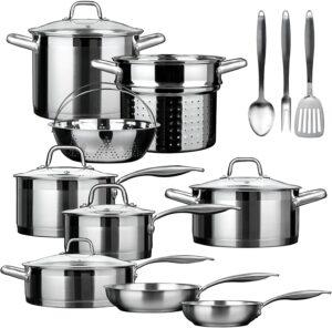最佳多功能式不锈钢锅套装:Duxtop Professional 17 Pieces Stainless Steel Induction Cookware Set