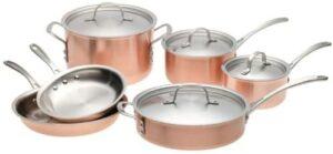 最佳铜制外观的烹饪套装:Calphalon Tri-Ply Copper 10 Piece Set