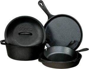 最佳铸铁烹饪套装:Lodge Pre-Seasoned Cast Iron 5 Piece Set