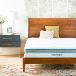 Linenspa 10 Inch Memory Foam and Innerspring Hybrid Medium Feel-Queen Mattress