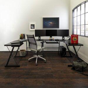 美国游戏办公桌Walker Edison Furniture Company L Shaped Glass Desk