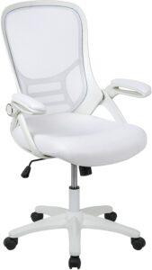 最佳白色网状办公椅:Flash Furniture High Back White Mesh Ergonomic Swivel Office Chair