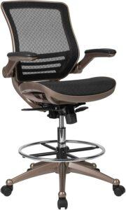 最适合设计者的网状办公椅:Flash Furniture Mid-Back Transparent Black Mesh Drafting Chair
