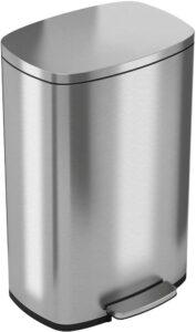 具有除臭功能的非接触感应式智能垃圾桶– 49升 13加仑 iTouchless SoftStep 13.2 Gallon Stainless Steel Step Trash Can