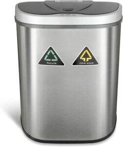 双隔室不锈钢感应式垃圾桶 NINESTARS Automatic Touchless Infrared Motion Sensor Trash Can