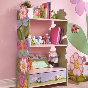 很适合给小女孩使用的书柜书架 Cracked Rose Thematic Kids Wooden Bookcase with Storage