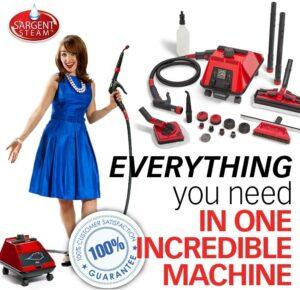 最佳商用的蒸汽清洁机 Sargent Steam Cleaner Cleaning System - Multi-Purpose, High Pressure, Vapor Steamer Machine - Best for Commercial, Industrial, Home or Car Detail