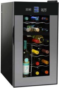最佳垂直储藏葡萄酒柜 NutriChef 18 Bottle Dual Zone Thermoelectric Wine Cooler