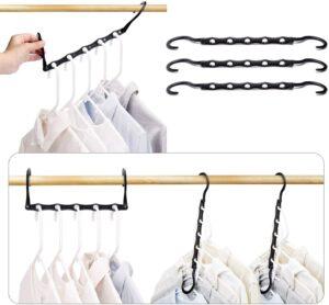 节省空间一次可挂多件衣服的魔术衣架 HOUSE DAY Black Magic Hangers Space Saving Clothes Hangers Organizer