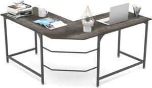 外观简洁大方的L型办公桌 Elephance 59Inch Large L Shaped Desk Corner Computer Desk Gaming Table WorkStation for Home Office