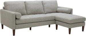 客厅沙发推荐Rivet Aiden Mid-Century Modern Reversible Sectional Sofa