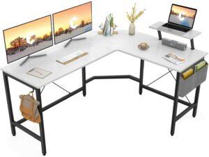 带显示器支架的L型办公桌 Cubiker Modern L-Shaped Computer Office Desk