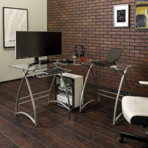 最佳现代办公桌 Walker Edison Ellis Modern Glass Top L Shaped Corner Gaming Desk