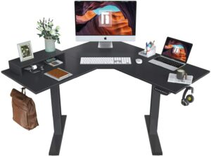 最节省空间的L型站立办公桌 FEZIBO L-Shaped Electric Standing Desk