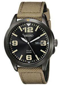 男士日常手表推荐Seiko Men's SNE331 Sport Solar Black Stainless Steel Watch