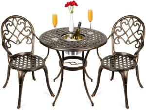 后院小酒桌餐椅 Best Choice Products Cast Aluminum Outdoor Patio Bistro Table Set for Backyard