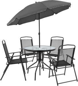 后院DECK露台花园套桌 6 Piece Black Patio Garden Set with Table, Umbrella and 4 Folding Chairs