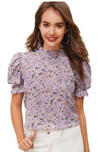 女士休闲短袖推荐Romwe Women's Floral Print Ruffle Puff Short Sleeve